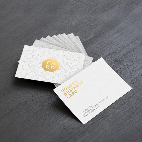 White with Foiled Business Card Printing in Calgary